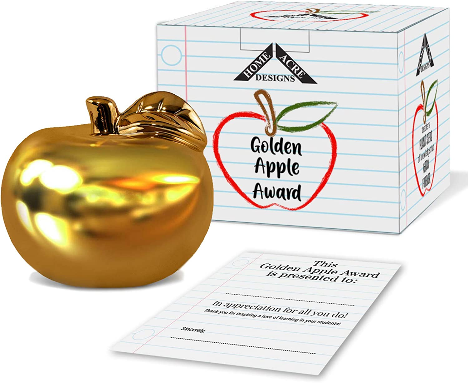 Teacher Gifts -Teacher Gifts for Women-Ceramic Gold Apple Teacher Appreciation Gift with Personalized Card or Certificate-Teacher Gifts for Men-Golden Apple Award-Teacher Gifts for Classroom
