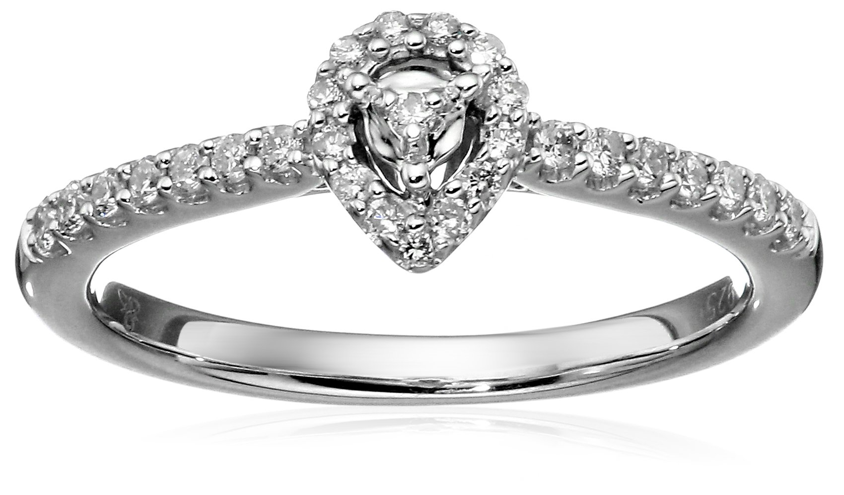 Silver Round-Cut Diamond Promise Ring (1/5cttw, white Color, I1-I2 Clarity), Size 8