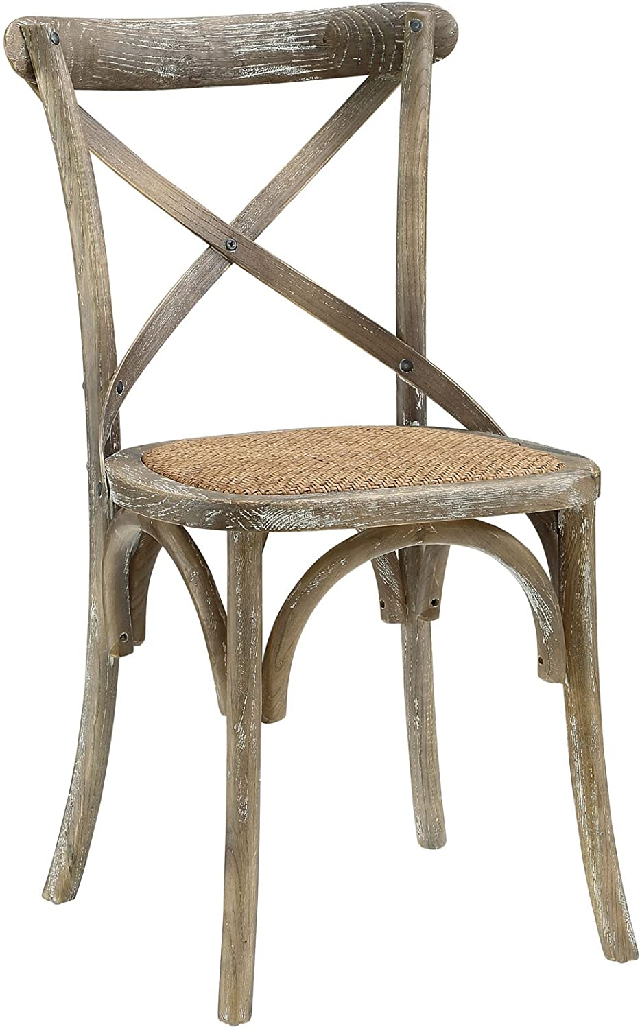 Modway Gear Rustic Farmhouse Elm Wood Rattan Kitchen and Dining Room Chair in Gray – Fully Assembled