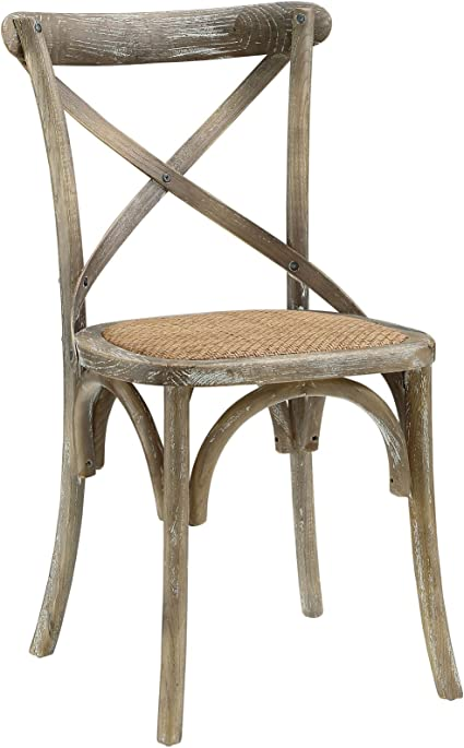 Modway Gear Rustic Modern Farmhouse Elm Wood Rattan Dining Chair In Gray Chairs Amazon Com