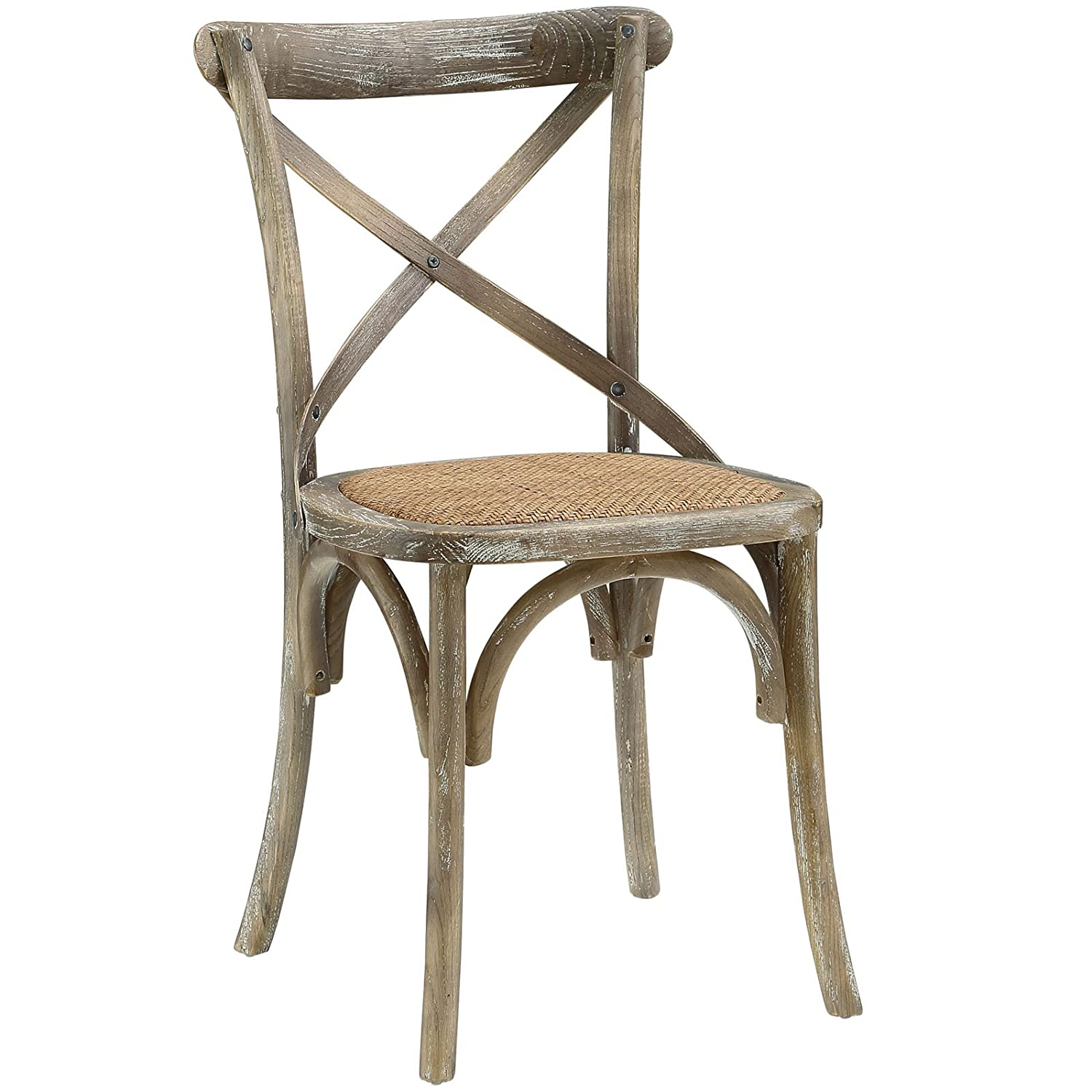 Cross back farmhouse style elm wood dining chair.