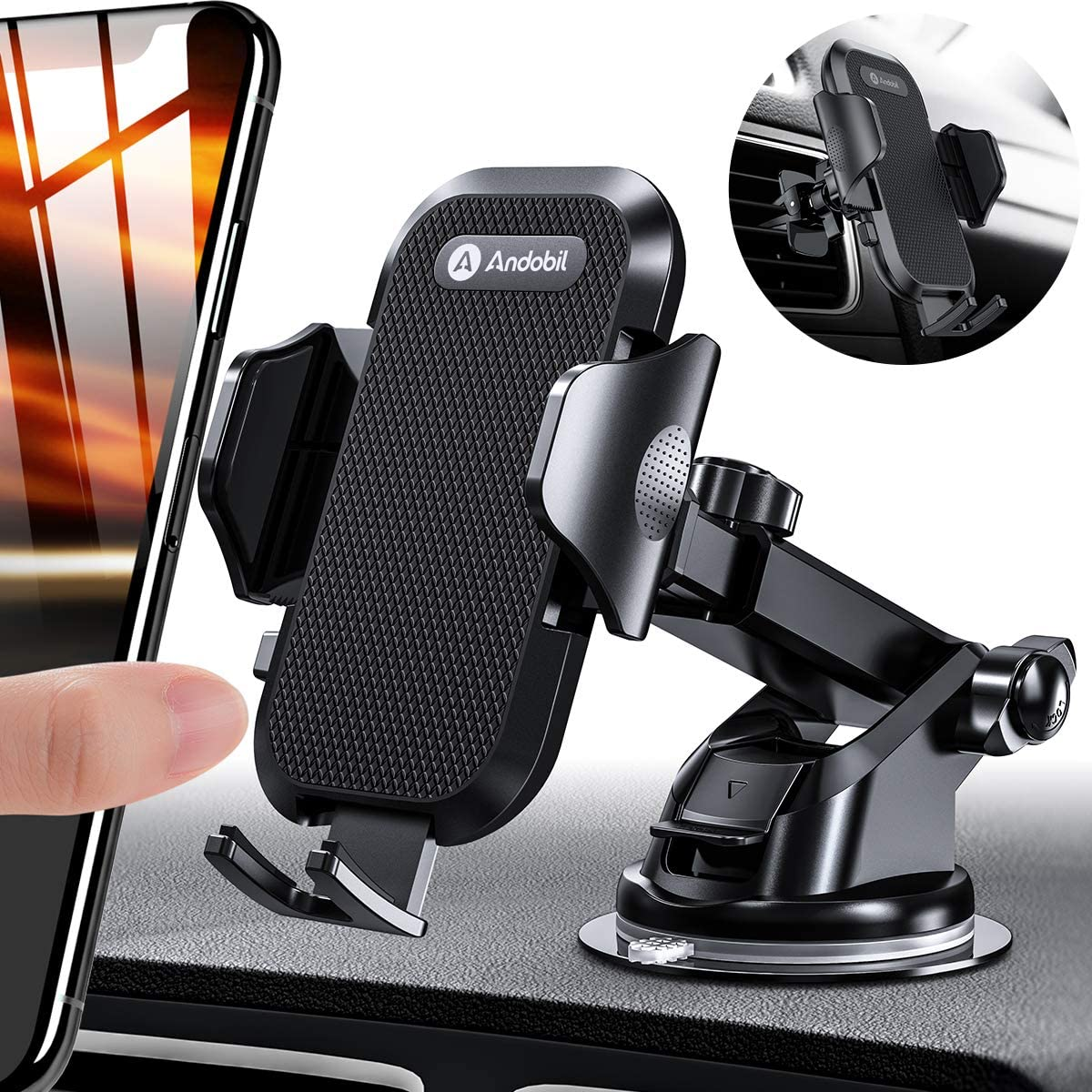 Andobil Car Phone Mount Easy Clamp, Newest Hands-Free Phone Holder for Car Dashboard Windshield Air Vent, Super Suction Cup, Compatible with iPhone 11/11 Pro/8 Plus/8/X/XR/XS/7 Plus Samsung S10/S9/S8 71i2NWhVoBL