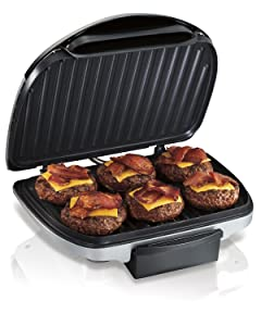 "Hamilton Beach (25371) Electric Indoor Grill with Non Stick Plates, 90"" Cooking Surface, Silver"