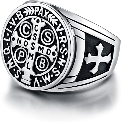 HZMAN Mens 8mm St Benedict Exorcism Ring Stainless Steel Catholic Roman C.. New