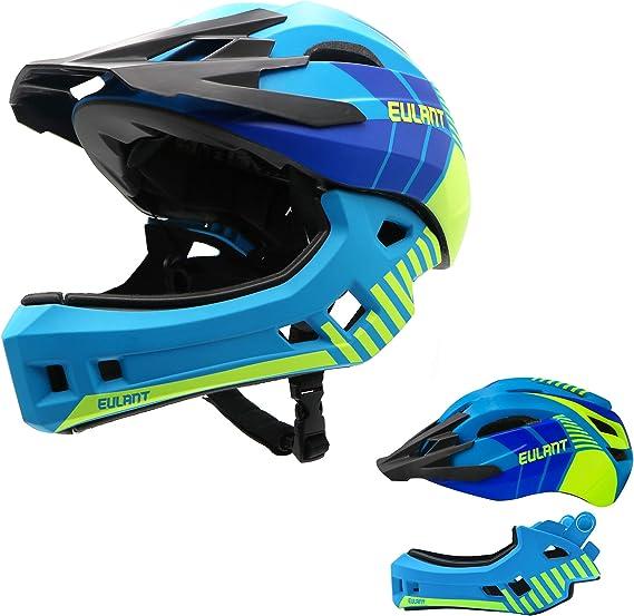 Eulant Aktualisierter Fullface Helm Für Kinder Kinderhelm Mit Kinnschutz Fahrradhelm Für Mädchen Und Jungen Im Alter Von 2 10 Jahren Passt Kopfgröße 48 56 Sport Freizeit