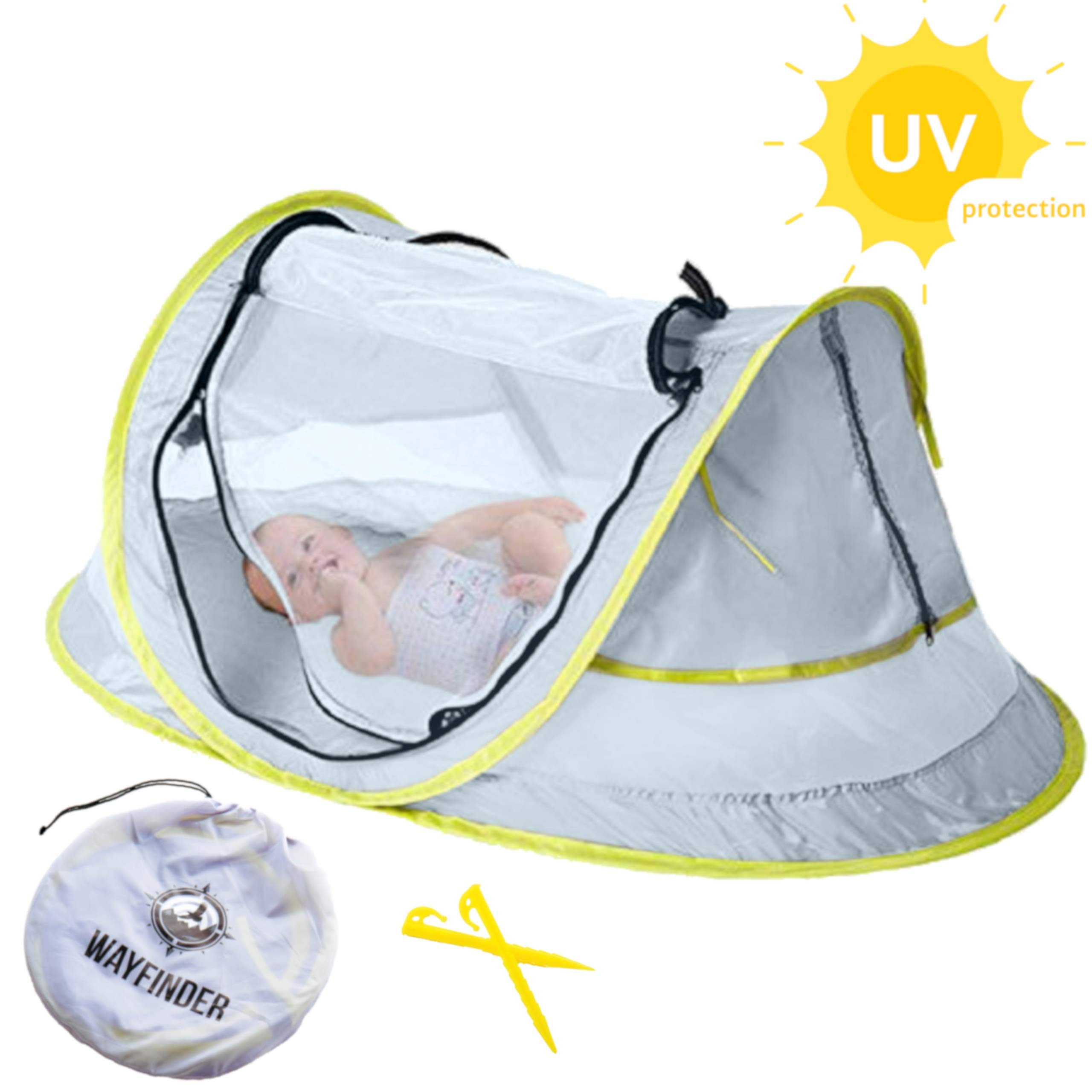 Wayfinder TravelTot, Baby Travel Tent Portable Baby Travel Bed Indoor & Outdoor Travel Crib Baby Beach Tent UPF 50+ UV Protection w/Mosquito Net and 2 Pegs by The Wayfinder Co.
