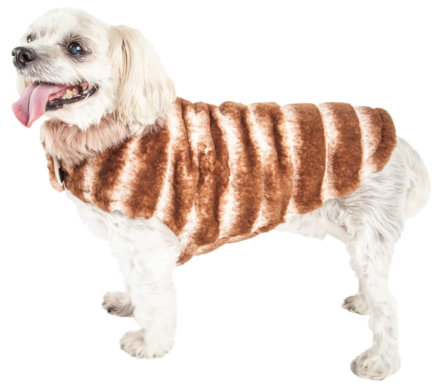 Brown X-small Brown X-small Pet Life Luxe 'Tira-Poochoo' Tiramisu Patterned Mink Dog Coat Jacket, X-Small, Brown