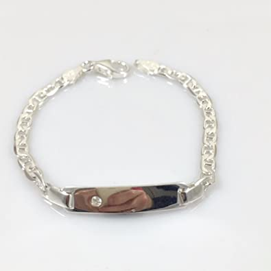 """925 Sterling Silver Personalised Christening Baby ID Bracelet Anchor CZ 5.5/"""""""