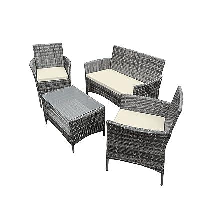 Set 2 sillones, mesa con cristal templado y sofá de 2 plazas para jardín Corfu, gris
