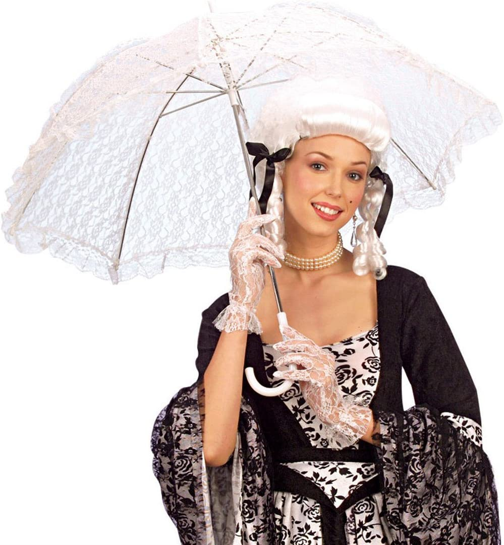 Weißer Rüschenschirm Schirm mit Spitze Spitzenschirm weiss Sonnenschirm Fasching