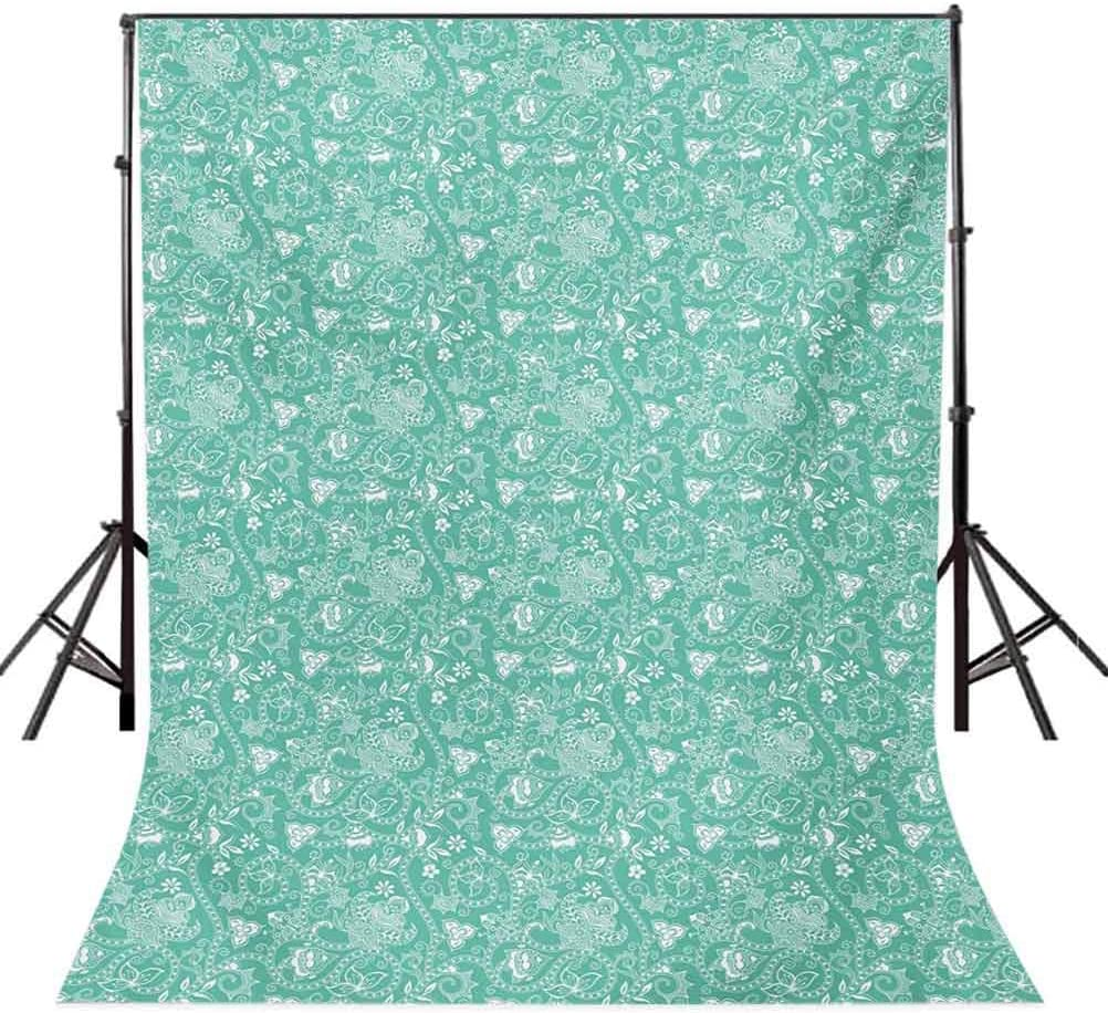 Abstract 8x10 FT Photo Backdrops,of Geometrical Patterns Wave Design Dots and Lines Square Motifs Background for Child Baby Shower Photo Vinyl Studio Prop Photobooth Photoshoot Olive Green Black Whit