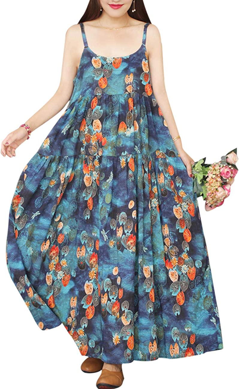 YESNO Women Casual Loose Bohemian Floral Print Dresses Spaghetti Strap Long Maxi Summer Beach Swing Dress XS-5X E75