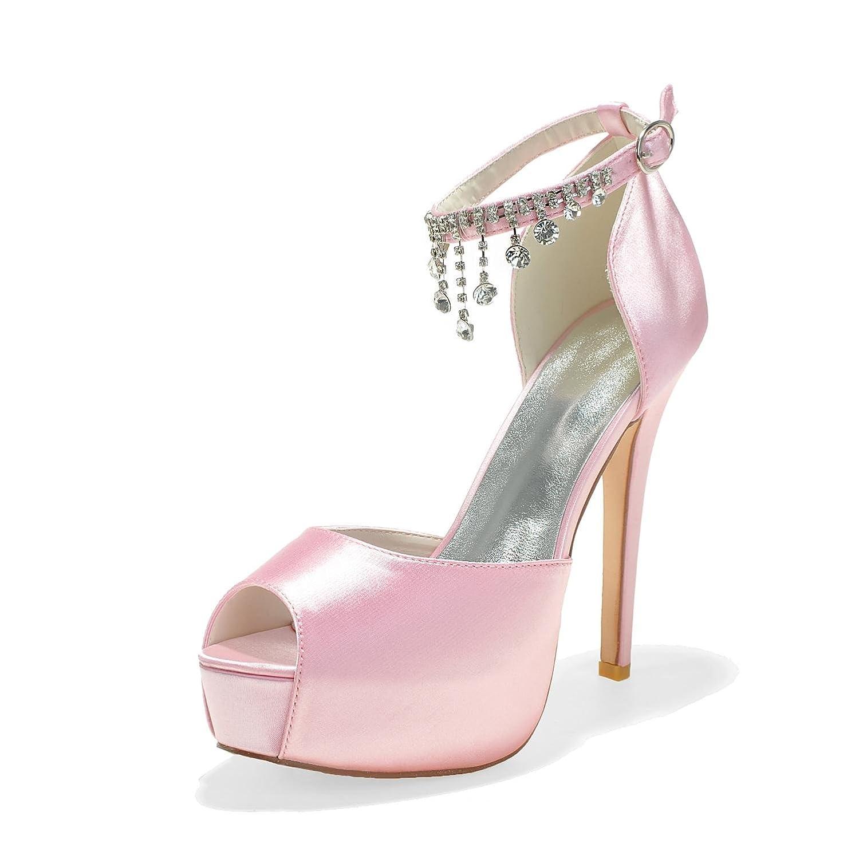Elegant High Shoes Zapatos De Boda De Las Mujeres PL-3128-21 Rhinestone Platform Pump Satin Zapatos De Novia con Colgantes De Seda 36 EU|Pink