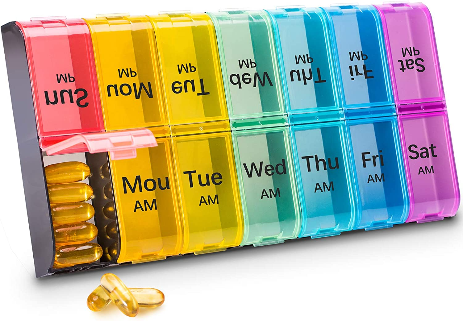 Large Pill Organizer 2 Times a Day - AM PM Pill Box 7 Day, XL Weekly Pill Cases Organizers, Day Night Pill Case, BPA Free Pill Container, Daily Pill Organizer for Vitamins, Fish Oils (Multi-Color)