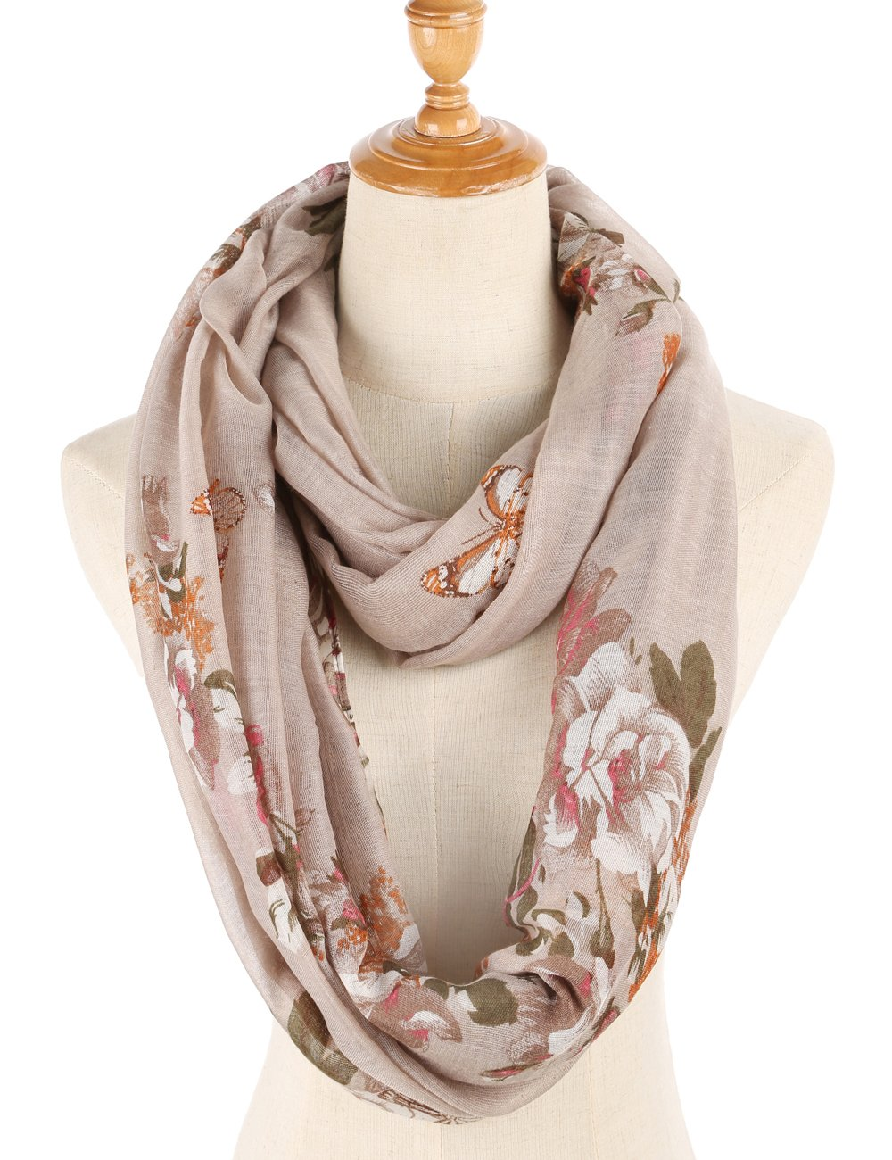 Infinity Scarfs for Women Loop Circle Fashion Scarf Floral Print Lightweight Scarves