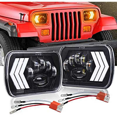 LEDUR 7x6 Led Headlights H6054 5x7 Inch Sealed Beam LED High/Low Beam Universal Headlight for Jeep Cherokee XJ MJ Truck: Automotive