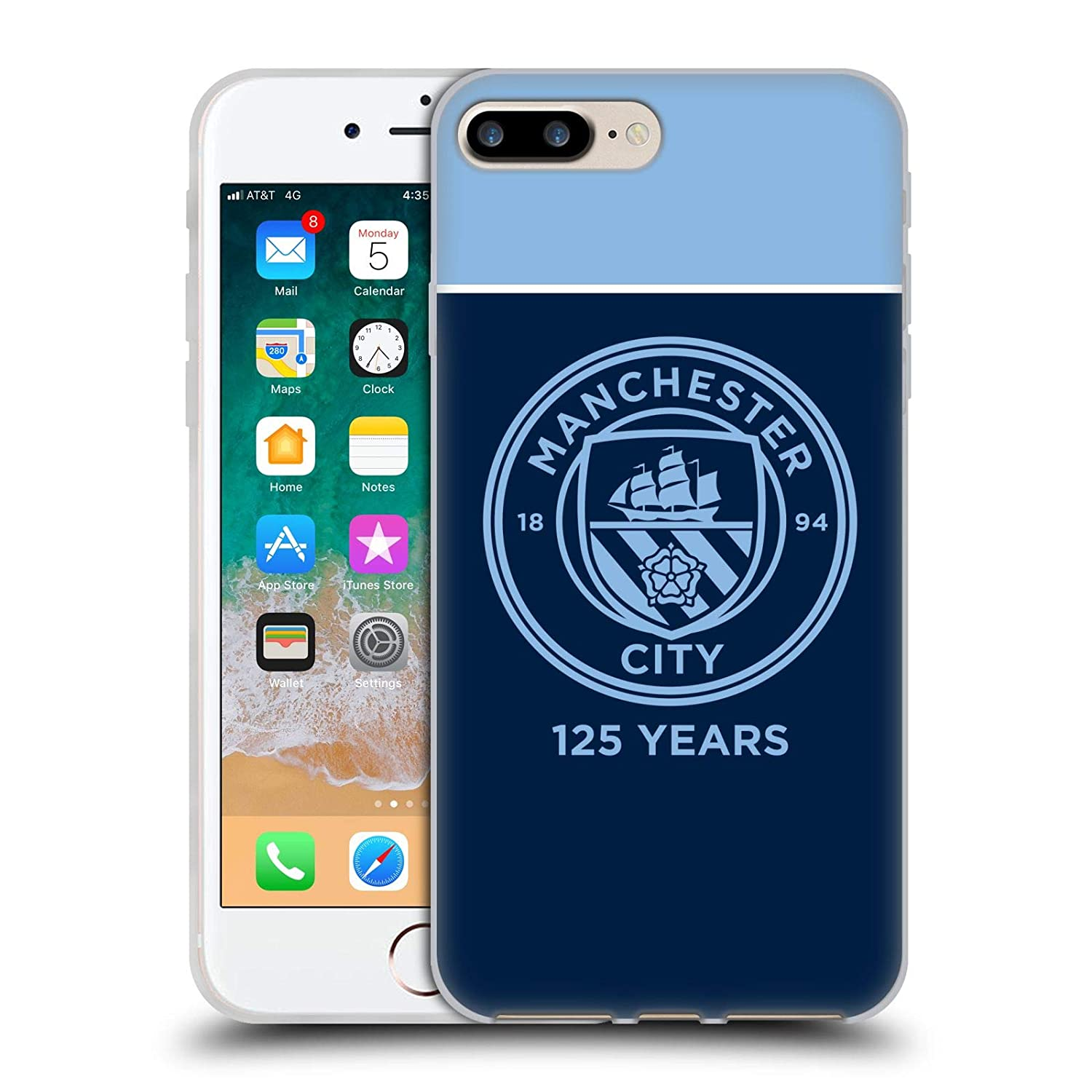 Official Manchester City Man City FC Black Marble 125 Year Anniversary Soft Gel Case for iPhone X//iPhone Xs