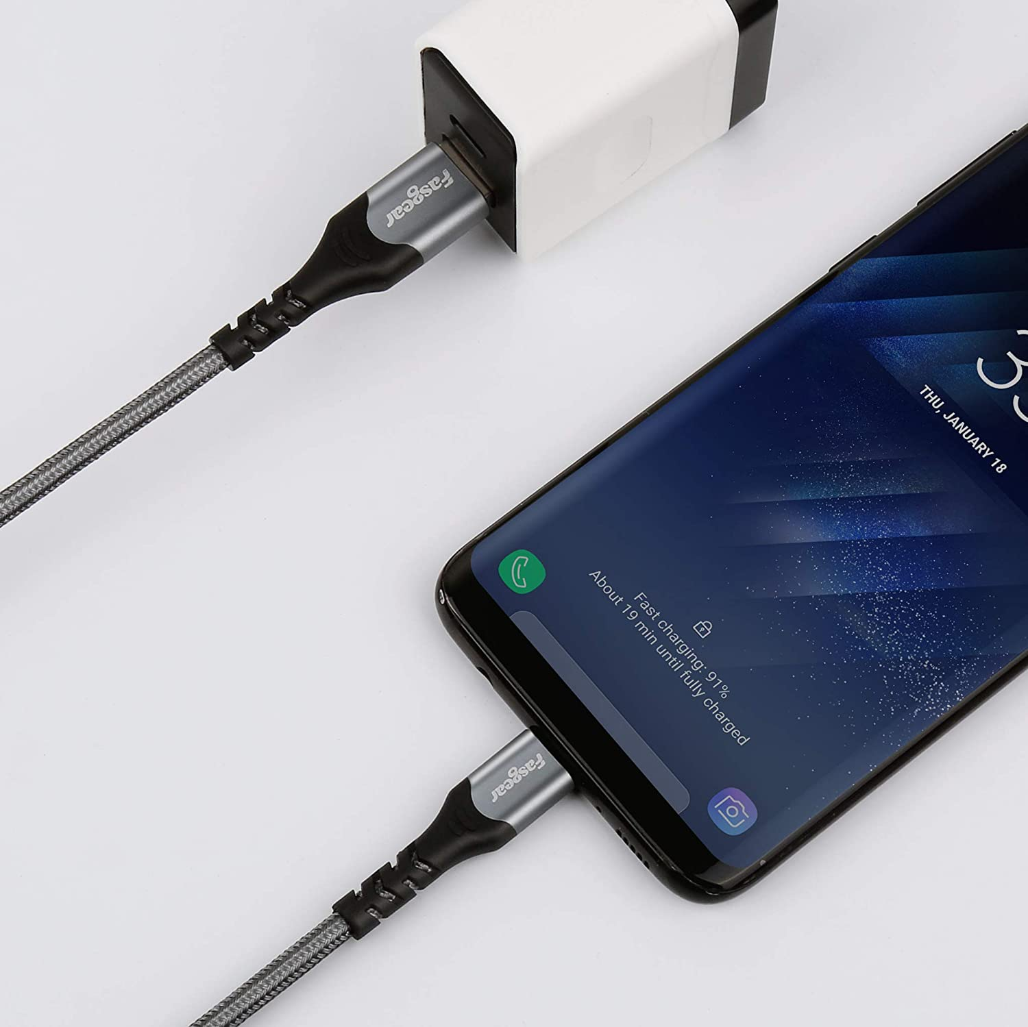 Fasgear USB C Cable 3 Pack 3ft+6ft+10ft Nylon Braided USB Type C Fast Charging Sync Cable Compatible with Moto G6 G7 Galaxy S10 S9 S8 S8 Gray Note 9 Oneplus 7 7pro Sony Xperia XZ Huawei P30 P20