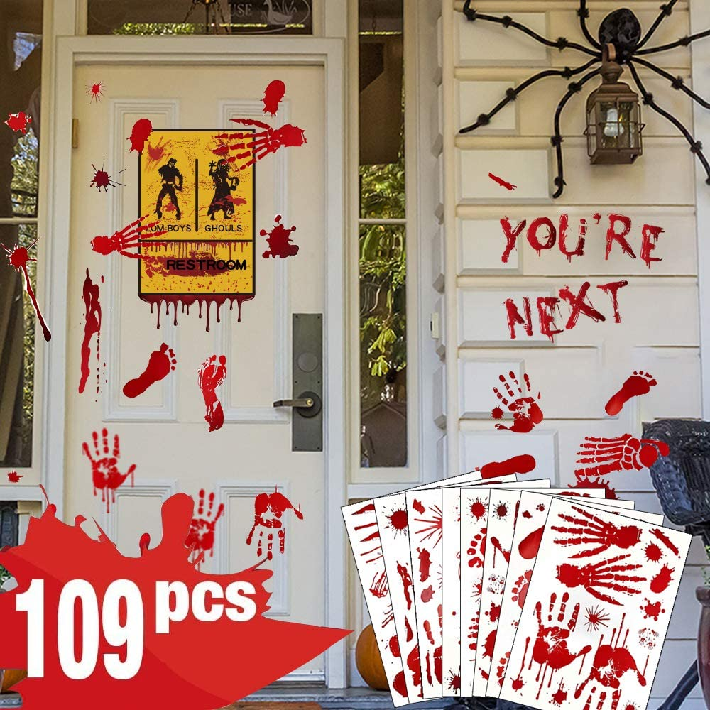 Halloween Decorations Window Decals Wall Stickers Decor 109 Pcs, Halloween Decoration Indoor Scary Bloody Decorations Indoor Bloody Handprint Footprint for Bathroom Office Window Wall Door