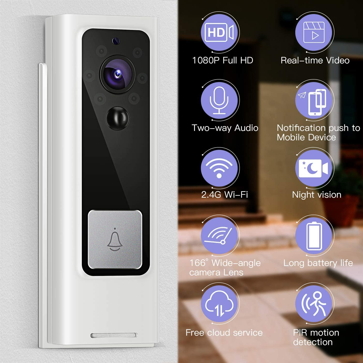 Night Vision 1080P HD WIFI Security Camera with Real-time Video PIR Motion Detection for iOS /& Android system Free Cloud Storage and Batteries Included Two-Way Talk Wireless Video Doorbell Camera
