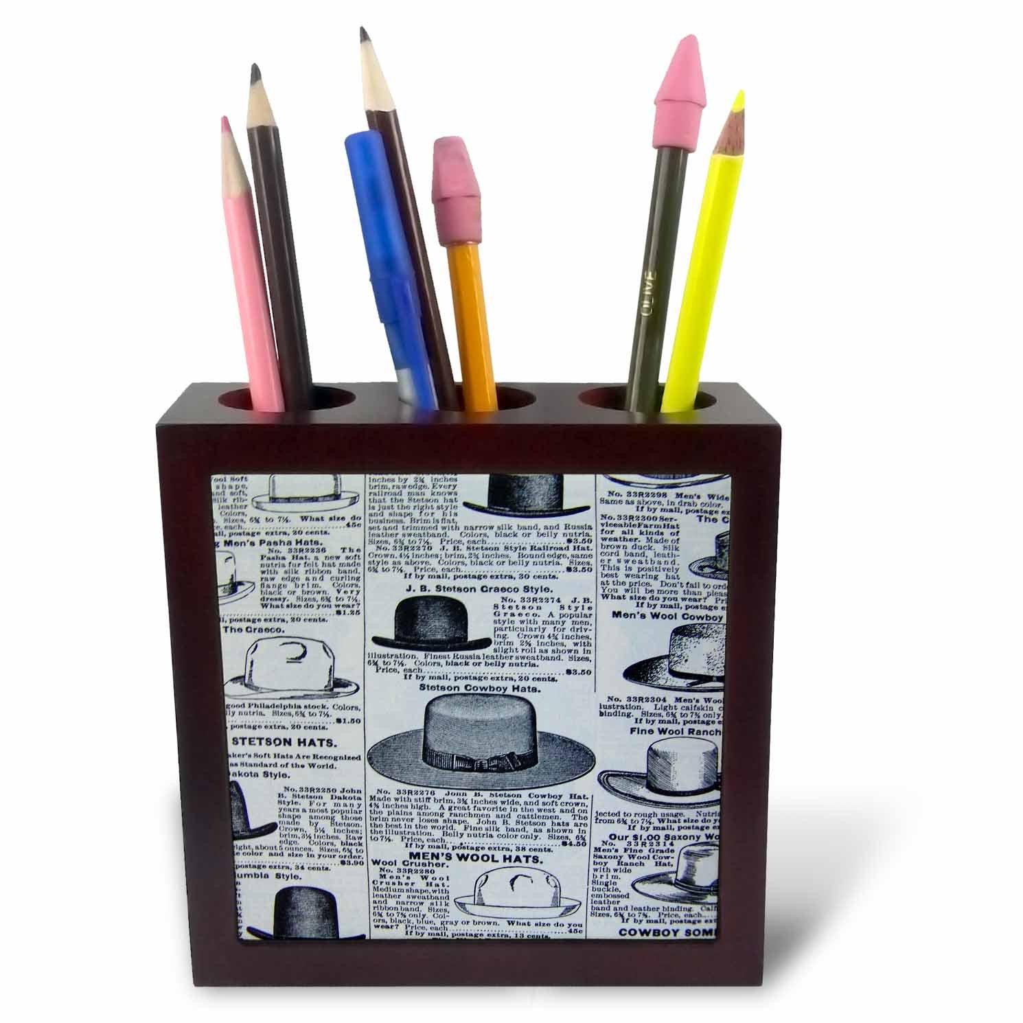3dRose ph/_22567/_1 Antique Mens Hats Tile Pen Holder 5-Inch