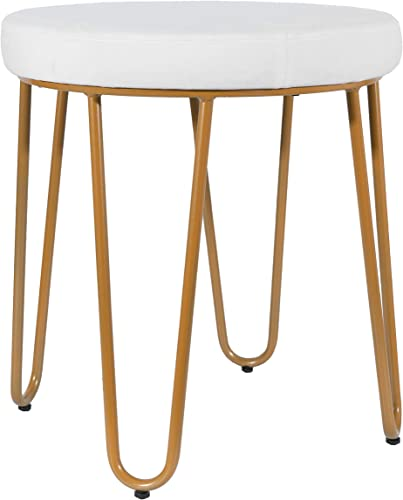 CANDIKO Velvet Vanity Makeup Stool Metal Chair White Gold
