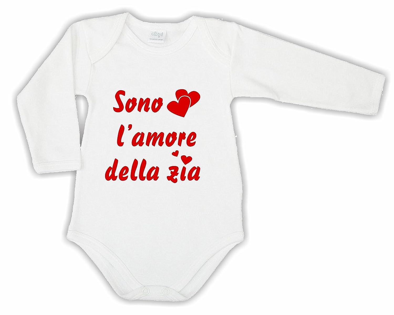 Body MANICA LUNGA Bimbo Bimba Neonato Pigiama - SONO L'AMORE DELLA ZIA - humor divertenti infanzia nascita neonato qualità MADE IN ITALY