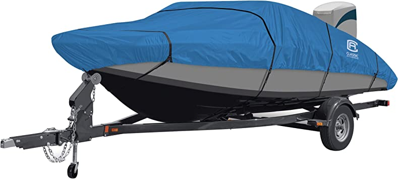 """Lunex Boat Cover Fits 14/' 16/'L beam width to 75/"""" V-hull fishing boat Grey"""