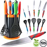 Nylon Kitchen Utensils, MCIRCO 11-piece Silicone Cooking Utensil Set Durable Heat-resistant Non-stick with Non-skid Rotating Stand Attractive Rotating Holder (11 pack)