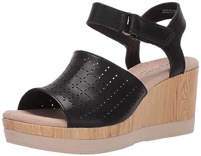 80b788ebe214 CLARKS Women s Cammy Glory Wedge Sandal Black Leather 050 ...