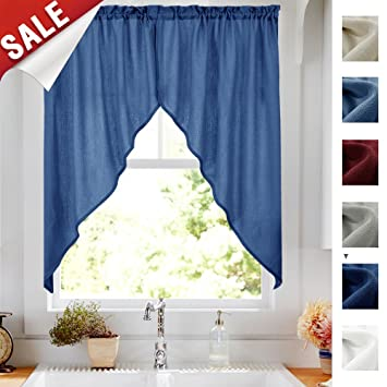 Swags Valance Semi Sheer Short Curtains Kitchen Casual Weave Cafe Curtains  Half Window Treatments 2 Panels 36\