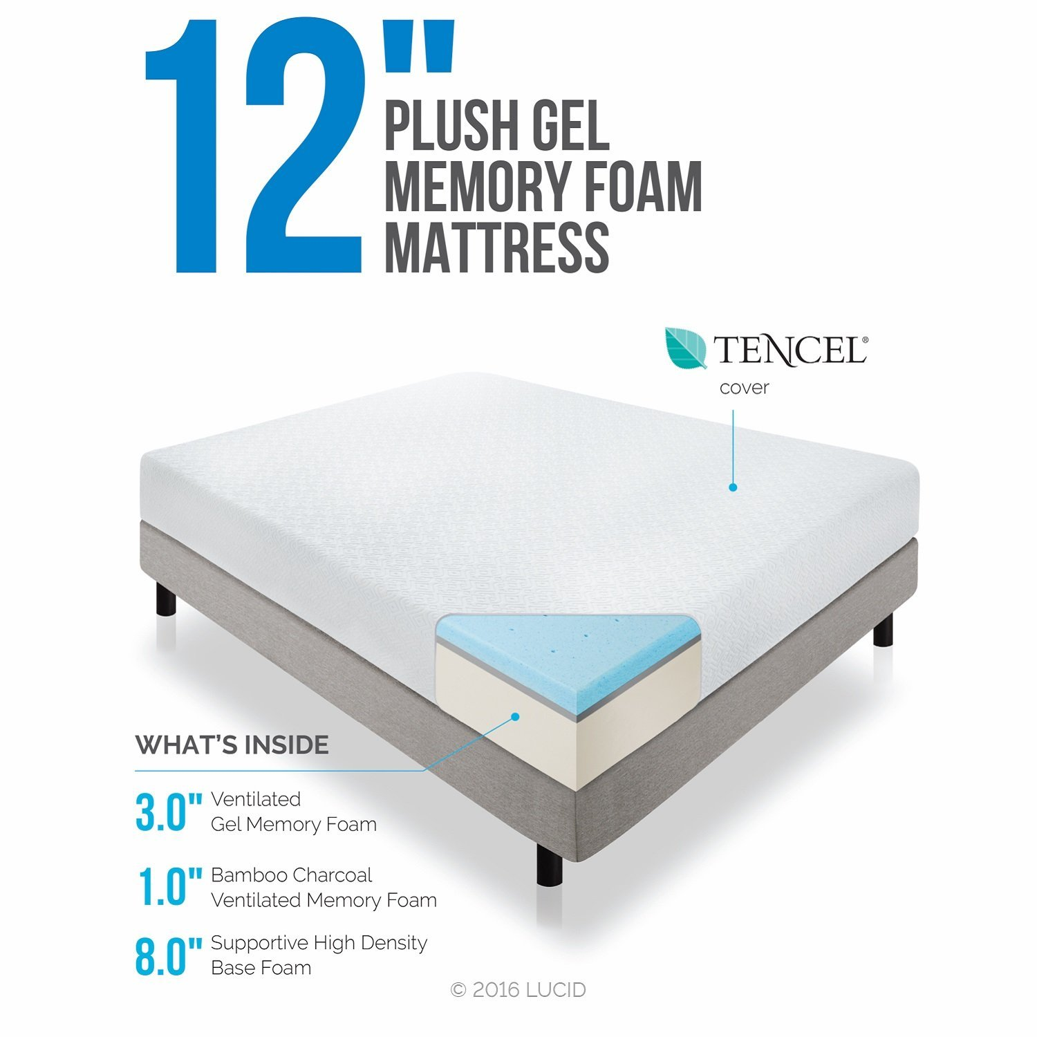 LUCID 12 Inch Gel Memory Foam Mattress Triple-Layer 4lb Density Review