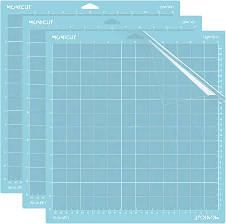 Adhesive/&Sticky Flexible Square Gridded Blue Quilting Cut Mats Replacement for Crafts、Sewing and All Arts. Ecraft 12X12 Light Grip Cutting Mat for Cricut Explore One//Air//Air 2//Maker 3 Pack