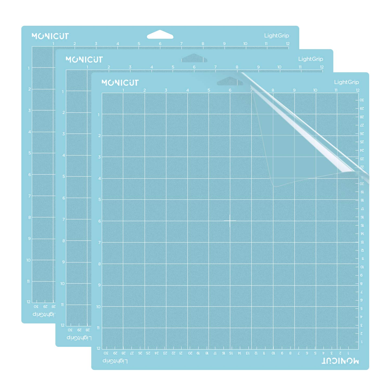 Monicut 12x12 Lightgrip Cutting Mat for Cricut Explore One/Air/Air 2/Maker(3 Pack) Adhesive&Sticky Non-Slip Flexible Square Gridded Blue Cut Mat Replacement for Crafts, Quilting, Sewing and All Arts by MONICUT