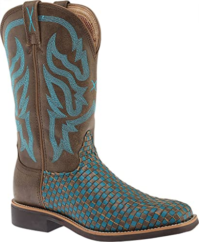 0e627823f95 Twisted X Women's Turquoise Basketweave Top Hand Cowgirl Boot Square Toe -  Wth0011