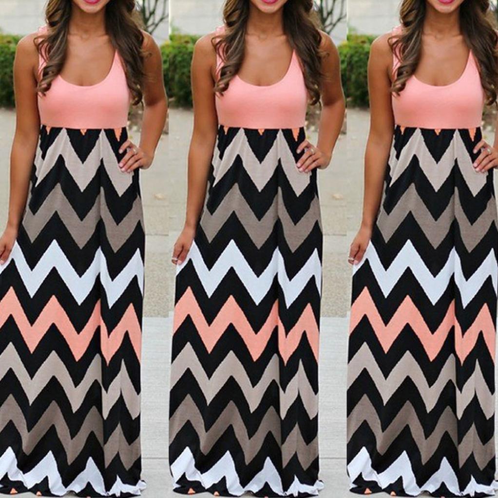 501a61ff7fc9fd Jaysis Damen Kleid Gestreift Lange Boho Kleid Strand Sommer Maxikleid S-3XL:  Amazon.de: Bekleidung