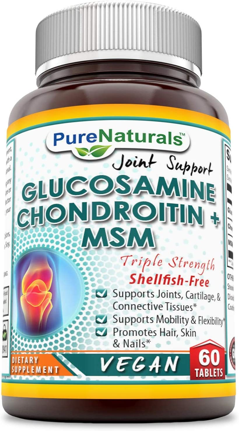 Pure Naturals Glucosamine Chondroitin & MSM Triple Strengh, Shellfish-Free, Supports Joints, Cartilage, Connective Tissues, Supports Mobiliaty & Flexibility, Promotes Hair, Skin & Nails 60 Tablets