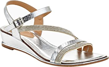 aed97007be2 Extreme by Eddie Marc Women s Open Toe Rhinestone Ankle Straps Low Wedge  Sandal