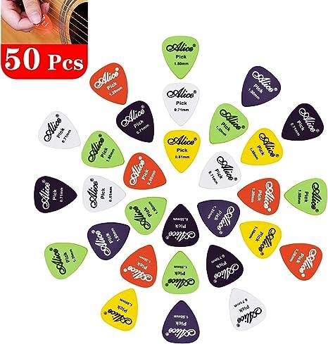 NATEE 50pcs Púa de Guitarra, Púa de Bass, Púas Celuloide Guitarra, Púa para Guitarra Acústica Eléctrica Bajo Clásica Ukelele Accesorio de Instrumento 6 Espesores Colores Surtidos con Caja: Amazon.es: Instrumentos musicales