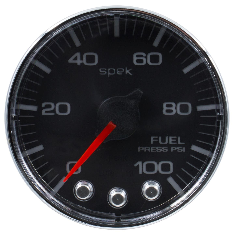 100Psi Fuel Press Stepper Motor W//Peak /& Warn Blk//Chrm Spek-Pro 2 1//16 2 1//16 Auto Meter P314318 Gauge