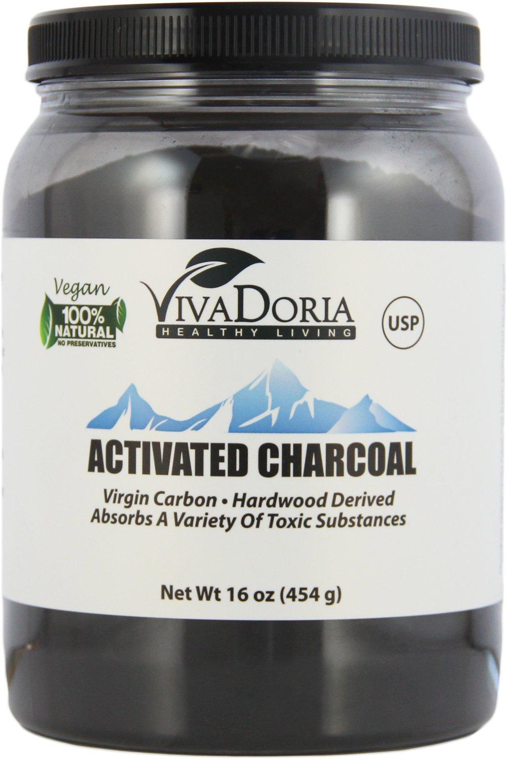 Viva Doria Virgin Activated Charcoal Powder Food Grade, 1 lb (16 oz)