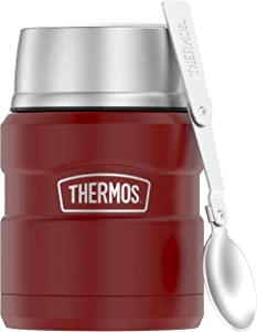 THERMOS Stainless King 16 Ounce Food Jar, Matte Red