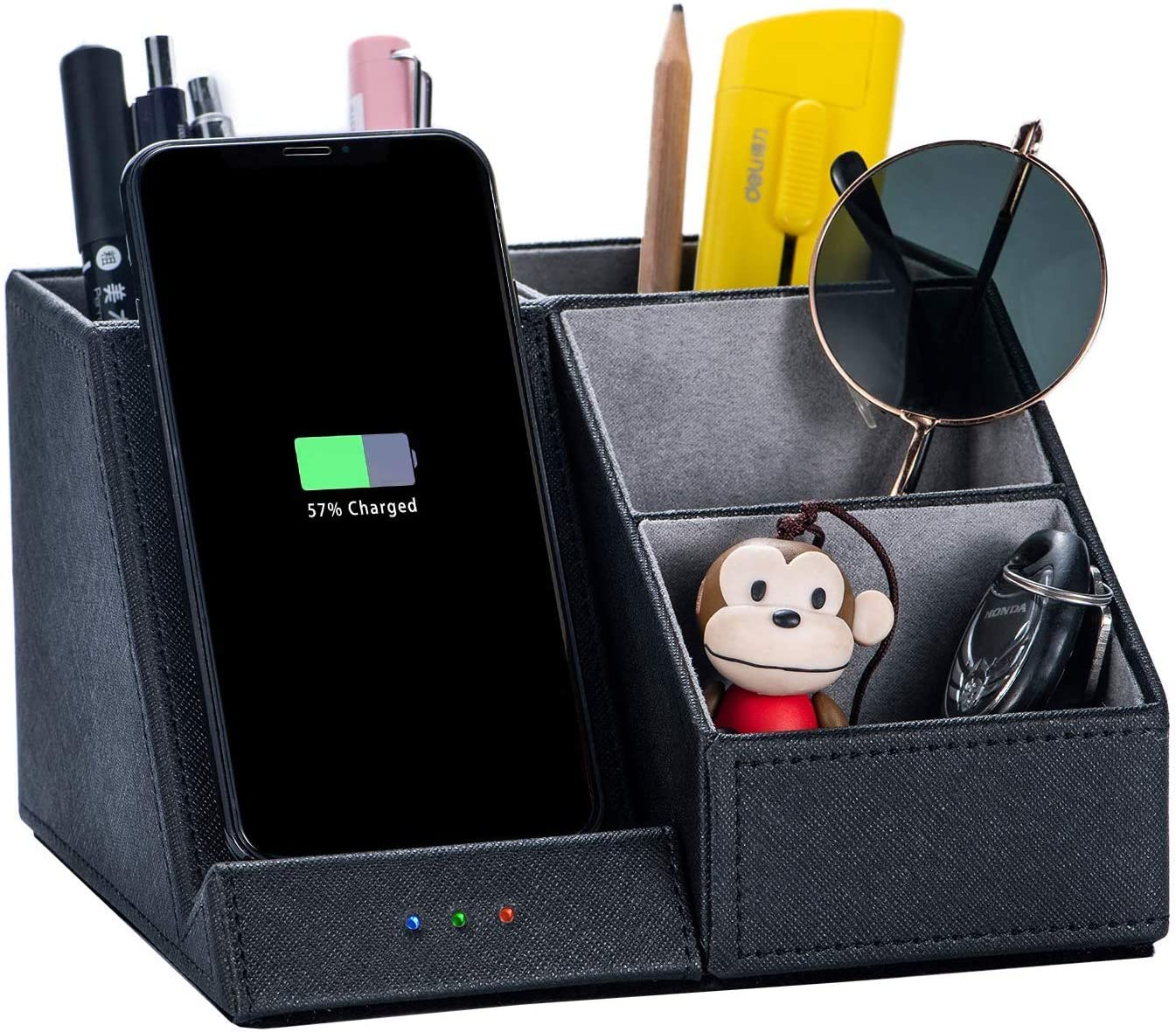 10W Fast Wireless Charger with Desk Organizer Qi Certified Fabric Induction Charger Stand Pen Pencil Holder ,with Wireless Charging - Multi-Function Desktop Storage Bo