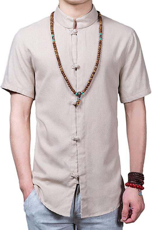 HEFASDM Mens Ribbing Edge Summer Casual Leisure Linen Pocket Tees Top