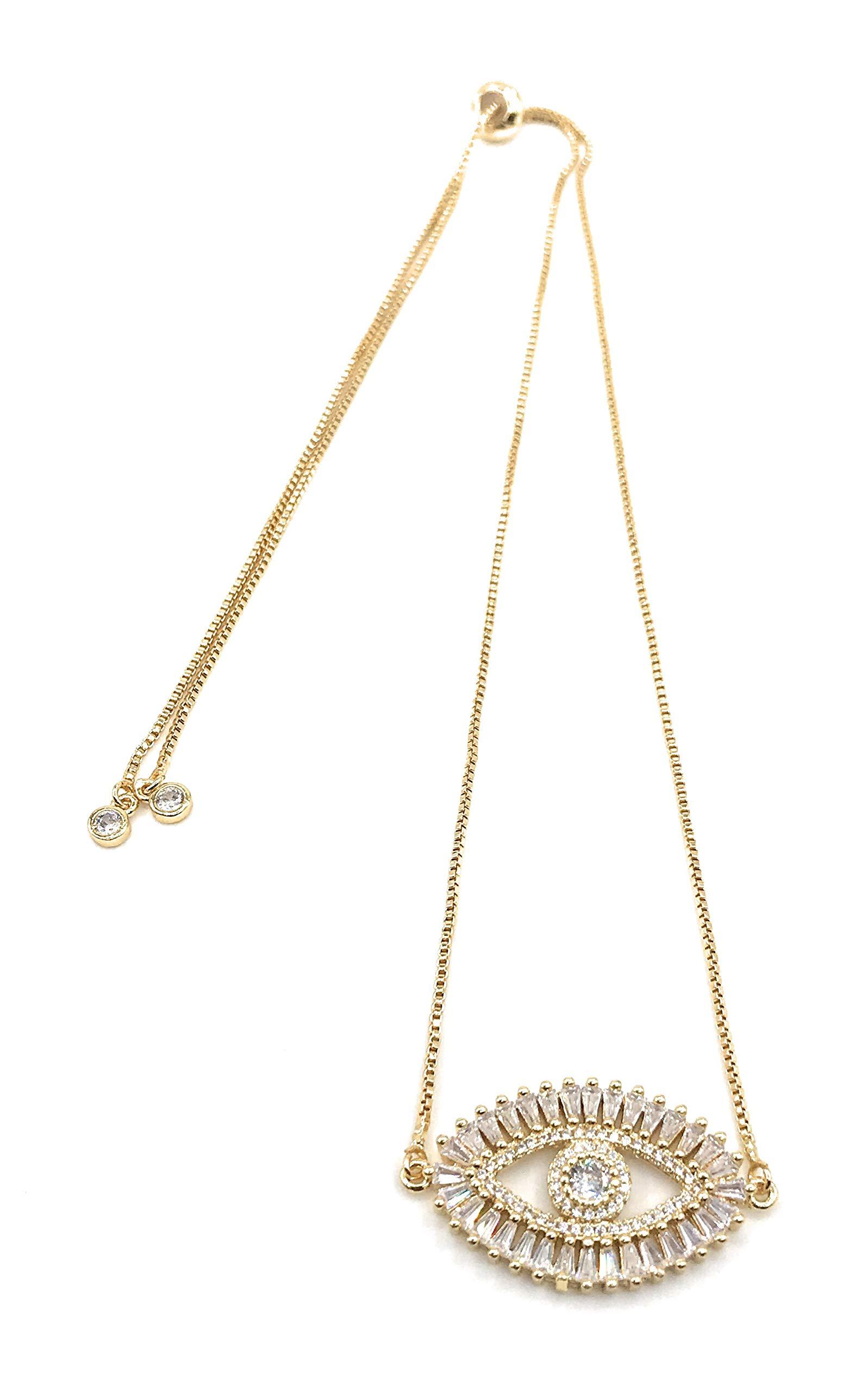 LESLIE BOULES Gold Evil Eye Necklace 18K Gold Plated Sliding Adjustable Chain Choker Jewelry