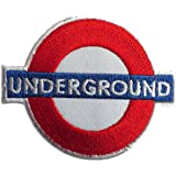 Ecusson - Underground Londres Logo - blanc - 7,4x5,7cm - patches brode appliques embroidery thermocollant
