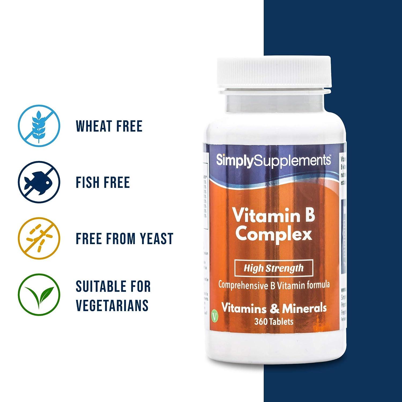 Vitamina B Complex - 360 comprimidos - Hasta 1 año de suministro - Con Biotina y Ácido Fólico - Aumenta los niveles de energía - SimplySupplements: ...