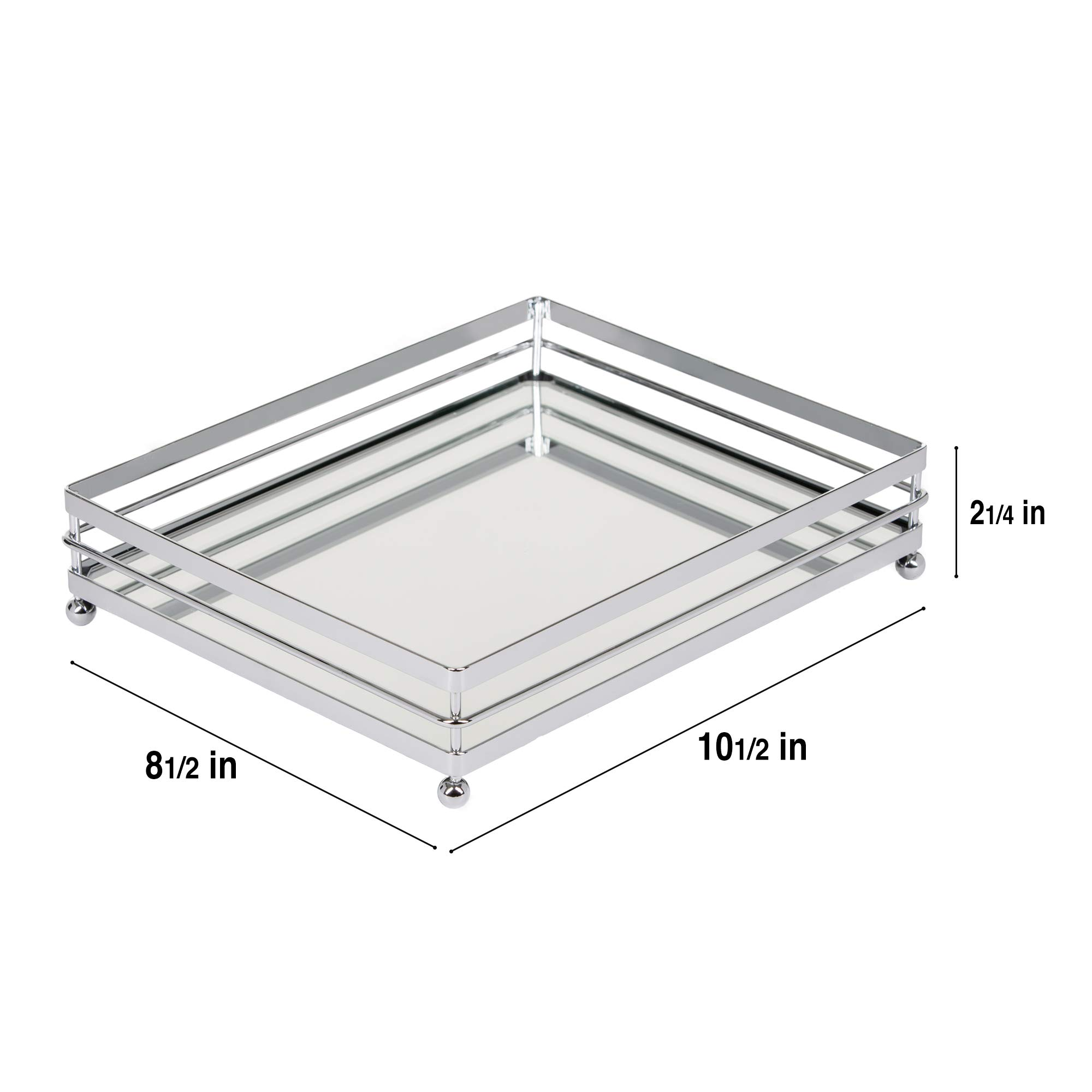 Vnesse Decorative Mirror Tray Mirror Perfume Glass Vanity Jewelry Serving Tray Silver Classic Accessories for Dresser & Bathroom 10.6'' x 8.6'' by Vnesse (Image #2)