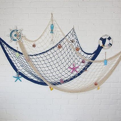 Amazon Com Decorative Fishing Net Wall Decor Nautical Style