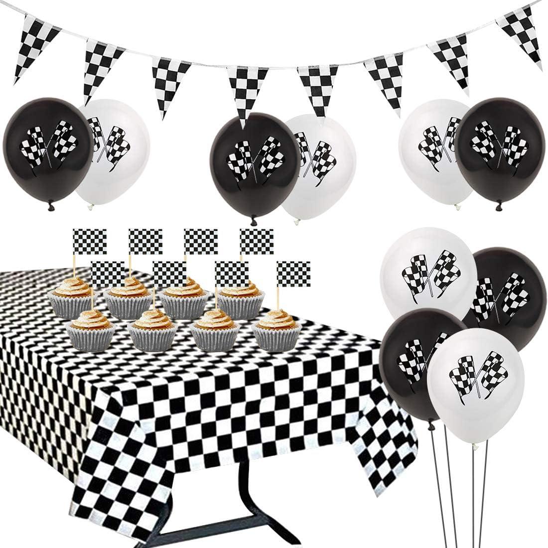 Suministros para la fiesta de carreras Bandera a cuadros Mantel negro y blanco Banderín Banner Cupcake Toppers para niños Cumpleaños Decoraciones para baby shower: Amazon.es: Hogar